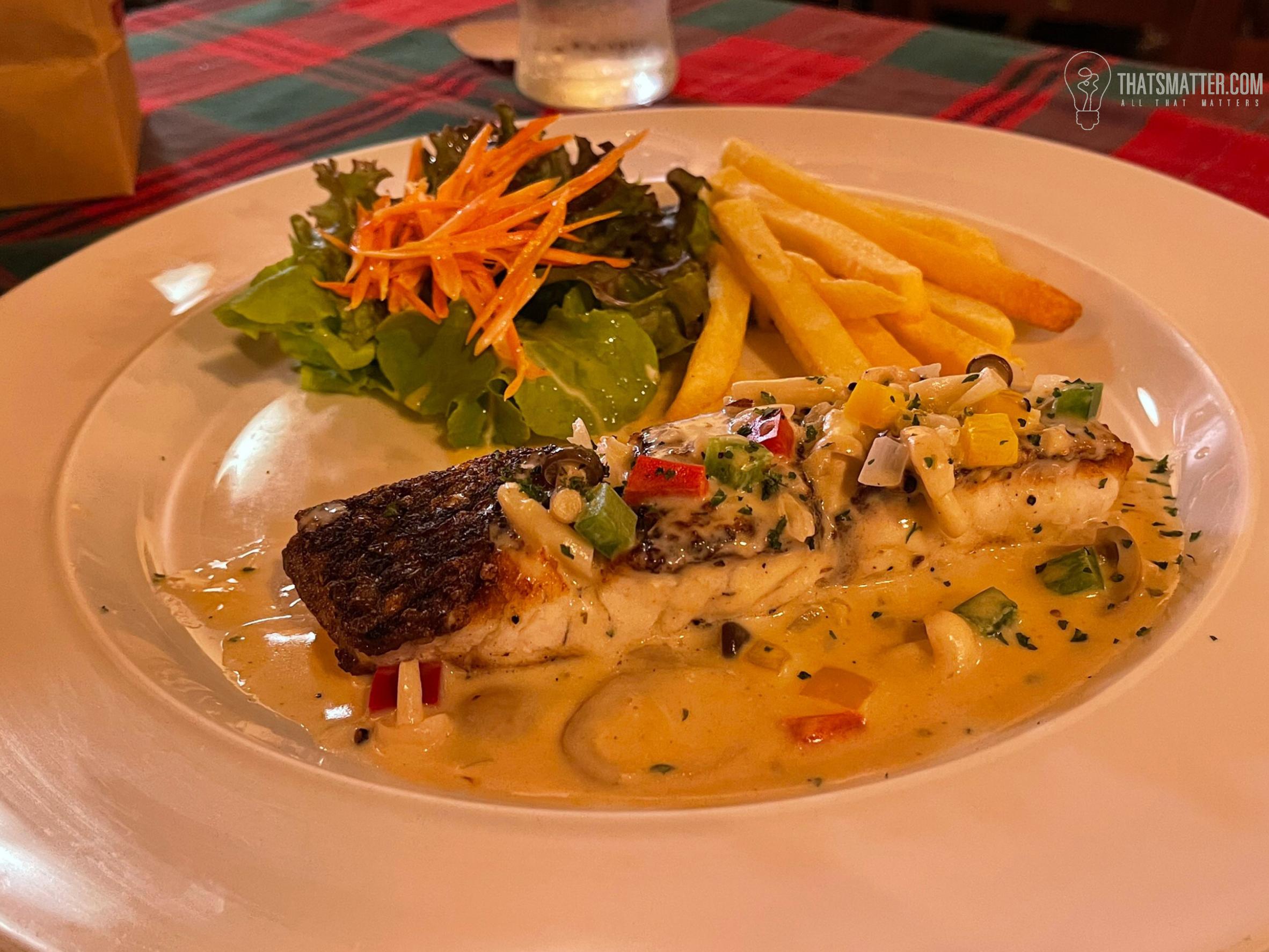 สเต็กปลากระพง ซอสไวน์ขาว Taste Add