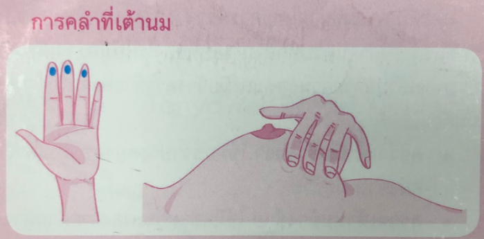 การคลำเต้านม จะใช้ 3 นิ้ว คือนิ้วชี้ นิ้วกลาง และนิ้วนาง