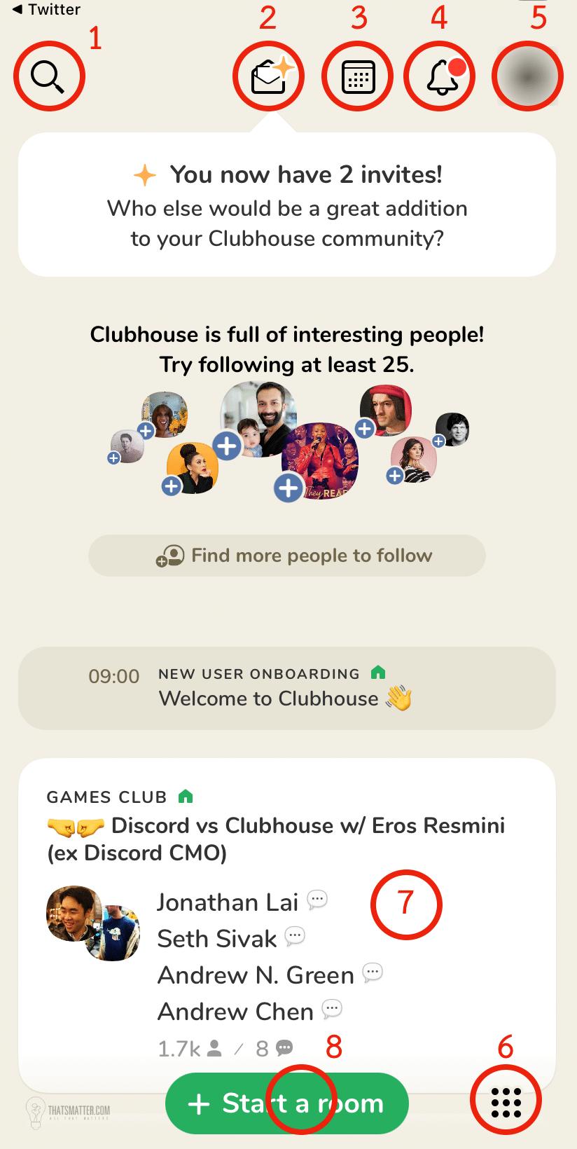 ปุ่มต่างๆ ของแอพ Clubhouse